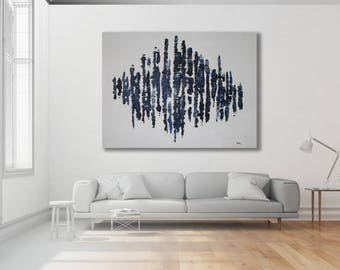 Large Abstract Painting, Blue, Grey and White, Modern Art, Texture Painting, Contemporary Art Painting, XL Painting, Large Painting