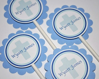Baptism Cupcake Toppers, Boys Baptism, First Holy Communion Cupcake Toppers, Christening Party Decorations - Set of 12