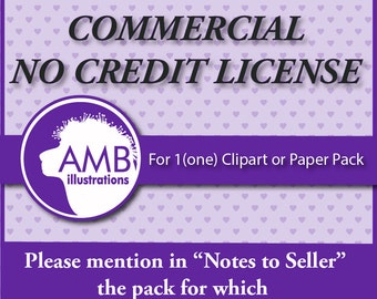 Commercial no credit license for clipart, vector graphics, digital papers, instant download AMB 001