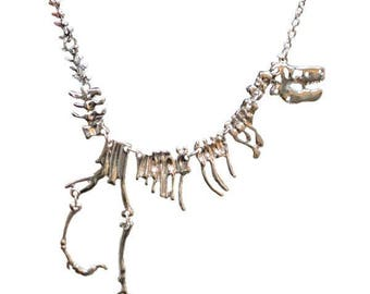 Dinosaur Skeleton Necklace - available in gold plated, silver plated and black metal