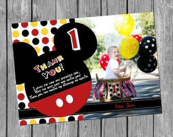 5x7 DIY/PRINTABLE Mickey Ears Birthday Thank You Card