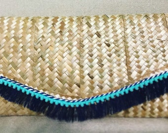 Straw Cluctch with navy fringe and aqua trim