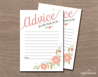 Printable Wedding Advice Cards, Advice for the Bride // Bridal Shower Advice Card, Instant Download // Well Wishes