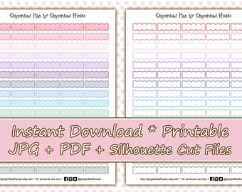 Pastel Scalloped Boxes Printable Planner Stickers