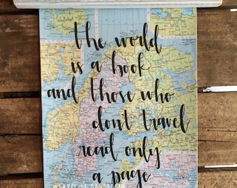 """Original Vintage Map Wall Hanging, """"the world is a book and those who don't travel read only a page"""" travel quote"""