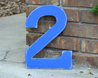 "12"" Wooden Number 2 Two, Distressed Royal Blue - all numbers many colors available"