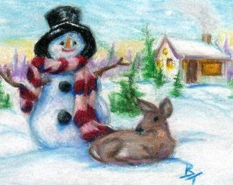 Mr. Snowman Original aceo 2.5x3.5 inc drawing