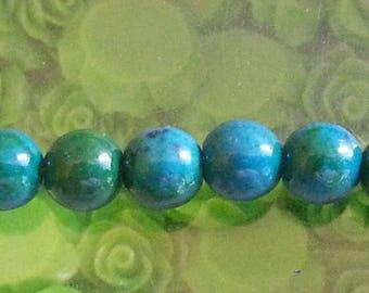 5 diameter 8 mm Green chrysocolla beads, 1 mm hole