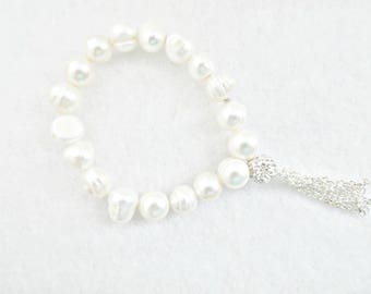 Freshwater Pearl Bracelet Tassel Bracelet Tassel Bracelet Gift June Birthstone June Birthday Gift Wedding Bridal Bridesmaid Oprah