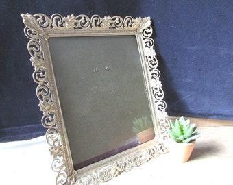 Frame 10 x 12 Filigree Frame Vintage Gold Tone One Frame Large Brass Frame