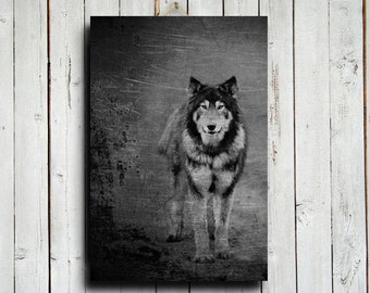 Wolf Standing - Wolf decor - Wolf art - Wolf photography - Wolf dog - Dog - Native American style - Black and White - Black wolf