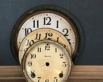 3 , Vintage clock faces / distressed and worn / Farmhouse decor / patina / Mars / Ingraham