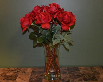 Real Touch Artificial Rose Arrangement In Vase-8 Roses
