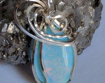 Monarch Opal sterling silver handmade pendant artisan jewelry