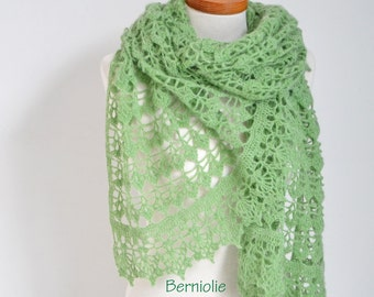 Lace crochet shawl, Sage green, N310