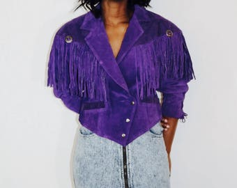 Ride it like a cowgirl badass 80s western fringe jacket | (size medium) 100% leather suade | purple jacket | cowgirl | hippie | fringe coat