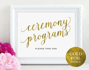 Gold Ceremony Program Sign, Gold Please Take a Program Sign, Wedding Program Sign, Wedding Printable, PDF Instant Download, MM01-3