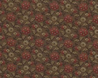 1 Yard Collections Circa 1852 Brown Garden Flowers by Howard Marcus for Moda
