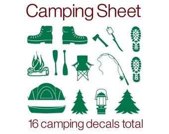 Camping Decals | Vinyl Camping | Camping Vinyl Decals | Vinyl Hiking Boot Prints | Vinyl Campfire | Vinyl Camp Lantern | Vinyl Decal | Vinyl
