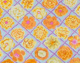 "LAMINATED Cotton  - Periwinkle Lattice Rose, 56"" Wide, BPA & PVC Free"