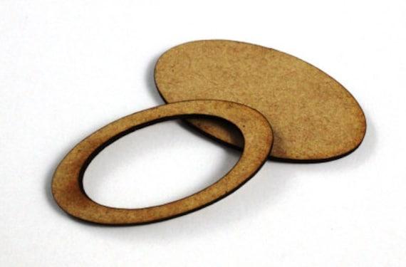 1 Large Craft Wood Bezel Oval Frames, 250 mm Wide, lasercut wood