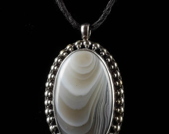 3.5cm Botswana AGATE Pendant - Handmade Jewelry Natural Agate Stone, Sterling Silver Bezel For Agate Necklace & Agate Jewelry Making J1015