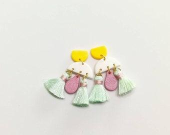 Mercy dainty sweet tassel clay statement earring