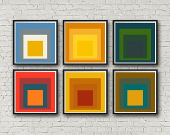 Modern Home Decor Set Of 6 Abstract Wall Prints Modern Abstract Art Square  Poster Yellow Home