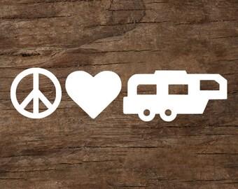 Peace, Love & Camping 5th Wheel Trailer Window Decal