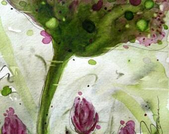 Wildflower aquarel Art bloemenprint, 8 x 10 Wildflower kunst