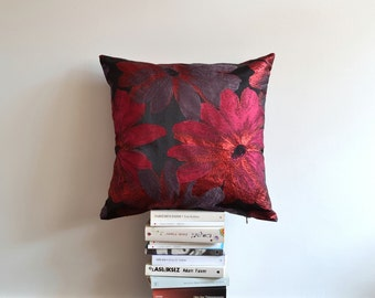 Decorative Satin Pillow Cover, Shimmer Pillow - Large Flowers, Cushion Cover - Organic Shine Pillows