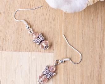 Pink Butterfly earrings   Butterfly jewellery   Cute boho earrings   Pink bead dangle earrings   Animal jewellery   Small butterfly earrings