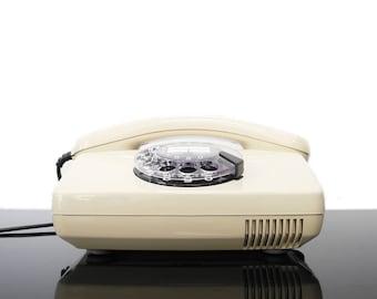 Beige Rotary Telephone / BP / Germany / Vintage / Mid Century