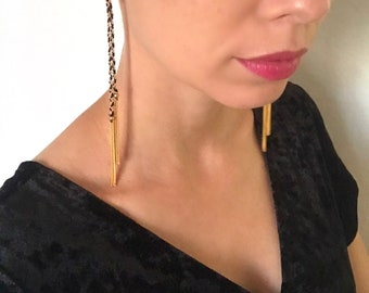 Black and Gold Extra Long Braided Earrings with Chain Tassel