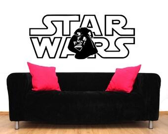 Star Wars Wall Decal Vinyl Sticker Decals Star Wars Logo Darth Vader Wall Decal Children Kids Nursery Bedroom Office Decor Window Dorm ZX206