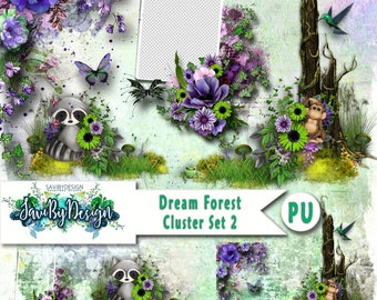 Digital Scrapbooking Clusters set of 4 DREAM FOREST SEt 1 premade embellishment png clusters to make immediate scrap page