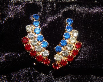 Red White Blue Clip On Earrings Patriotic USA American 4th of July Red White Blue Rhinestone Earrings