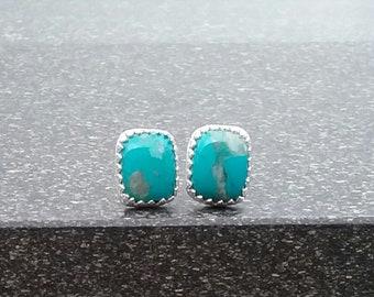 Chrysocalla earrings, Chrysocolla studs, Sterling silver studs, Stud earrings, Silver earrings, Silver studs,