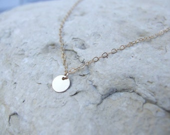 Tiny Disc Necklace / 14k Gold Filled Disc Necklace / Gold Disc Necklace