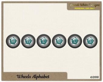 Wheels Alphabet for Digital Scrapbooking, Instant Download