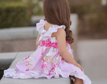 Girls Dress in Pink Floral - Flutter Sleeves - Roses - Matching Sister Dress - Twirl Dress - Family Pictures - Spring Party - Mothers Day