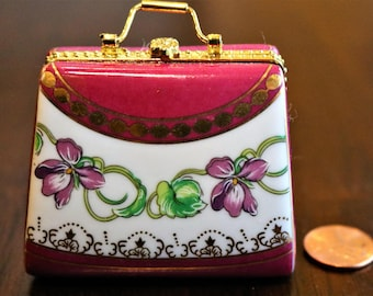 Pink Purse Trinket Box, Porcelain Hinged Box, Purse PHB, Pink Handbag Figurine, Trinket Box, Treasure Box, Gift for Fashionista,