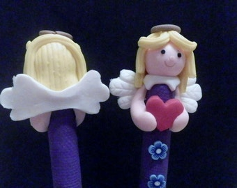 New Cute Polymer Clay Fimo Christmas Blonde Angel Girl with Heart Flowers Pen