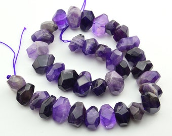 15 inch  Natural   Amethyst  Nugget  Drilled  Faceted Bead , Cut  Chunky  Nugget Pendant Bead