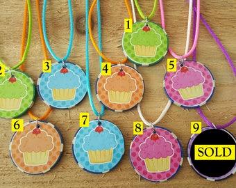 Happy Birthday Cupcake Poker Chip Necklace