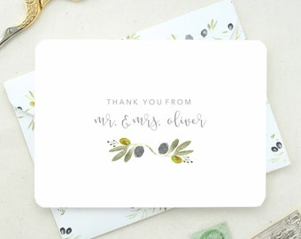 Gift for Newly Weds. Thank You Cards Set. Thank You Floral Cards. Floral Stationary. Personalized Mr. & Mrs. Cards. Wedding Thank You