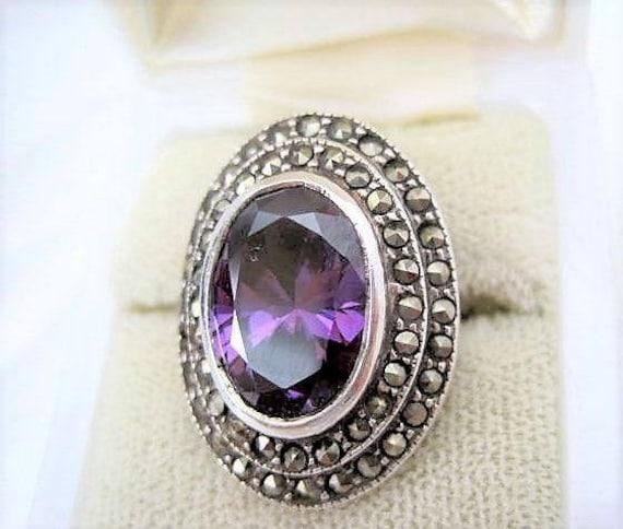 Sterling Amethyst Ring, Marcasite Surrounding, Size 6 Elegant Ring
