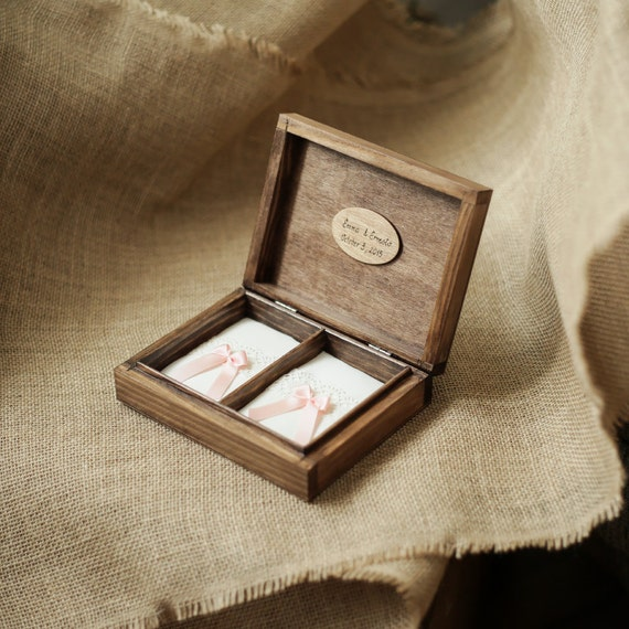 Personalized wedding ring box Rustic wooden ring box Wedding