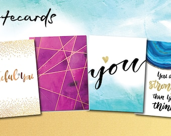 Blank notecards - Friendship cards - Thank you cards - foil-stamped, silk laminated