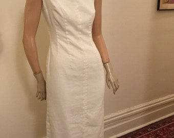 Classic white linen sheath wiggle dress S